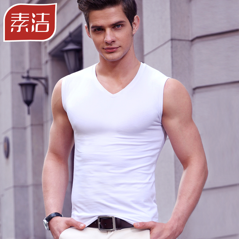 Men s Vest Men s summer cotton youth breathable slim-fit sleeveless T-shirt  Fitness Sports 6472db476