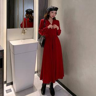Французский небольшой Толпа людей ретро платье весна 2020 новинка красный V с длинными рукавами платье талия была тонкий темперамент юбка
