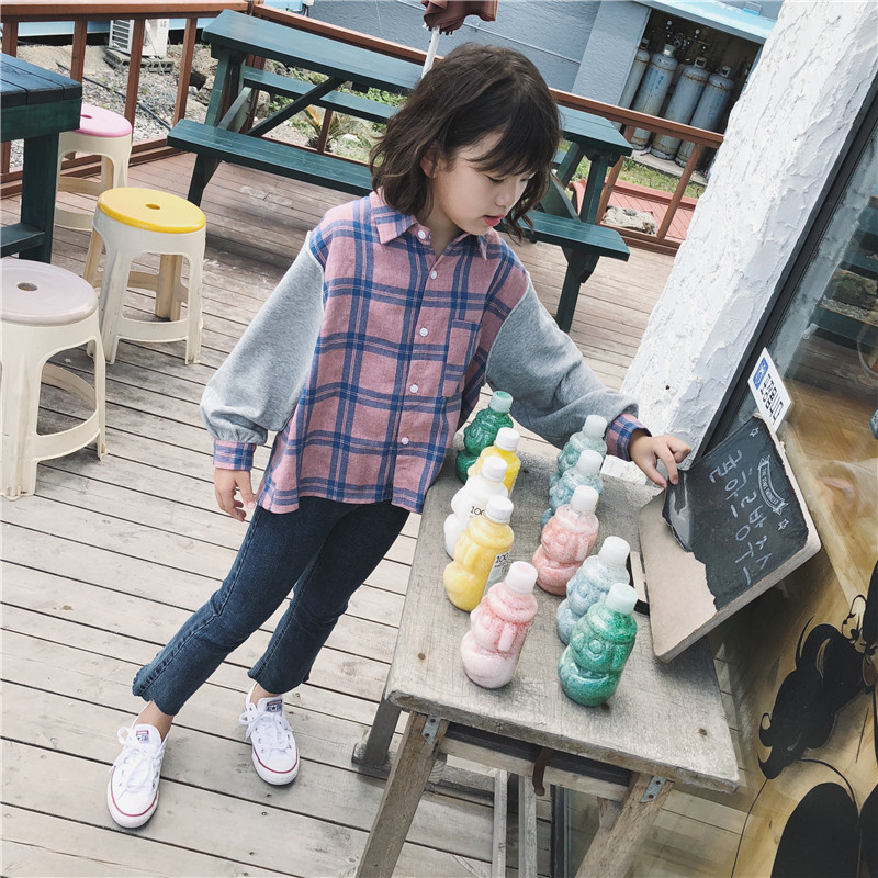秋装新款女童卫衣长袖格子衬衫韩版儿童拼接翻领假两件上衣5800