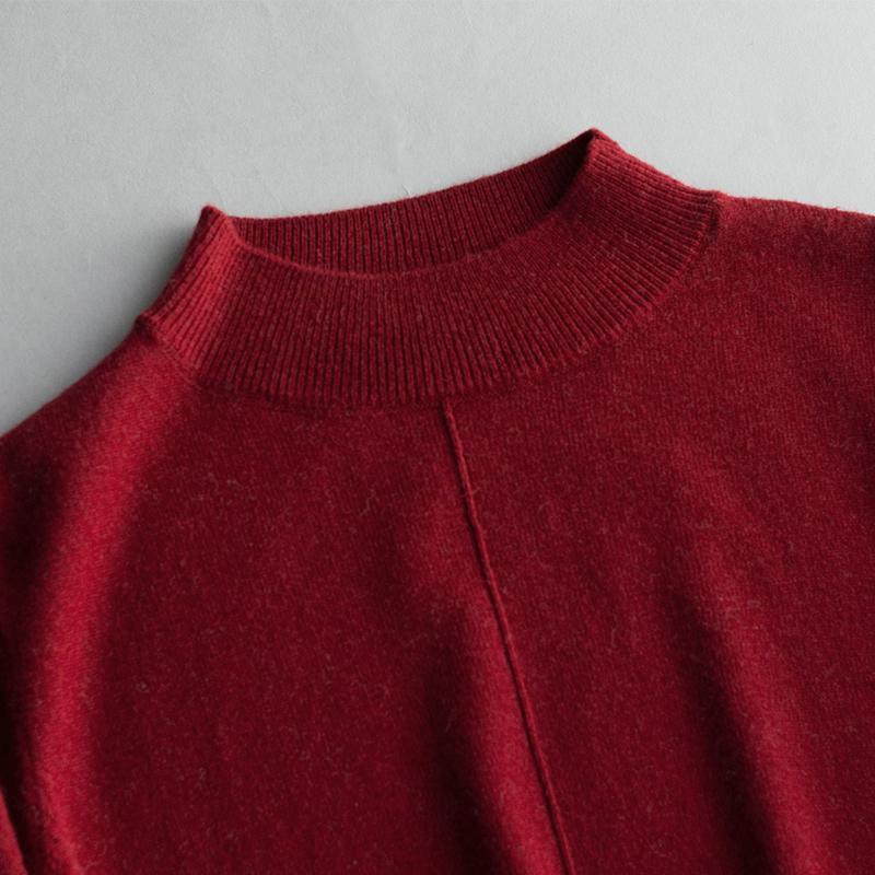贵柔2017秋装百搭短款修身打底毛衣套头长袖半高领100%纯羊毛衫女
