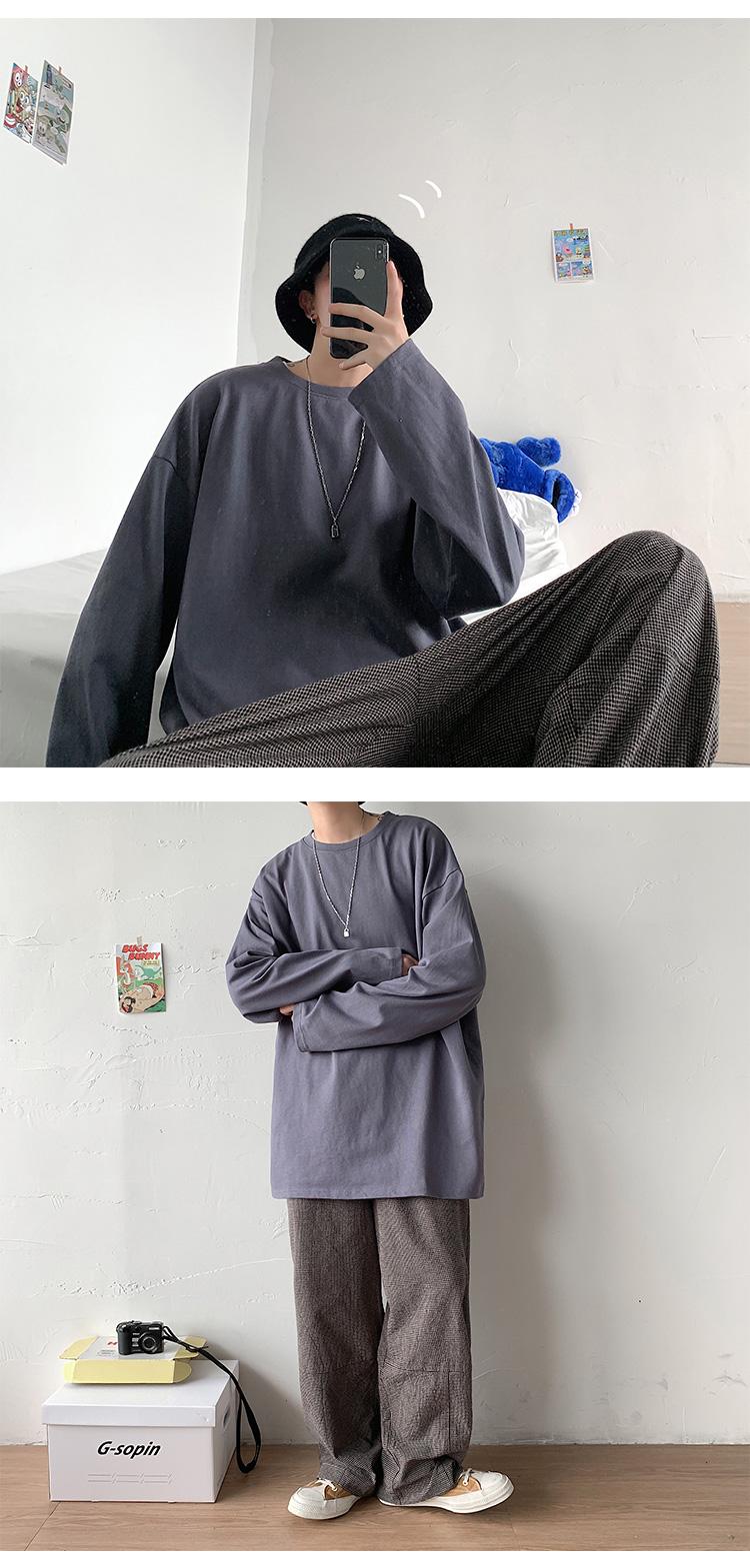100%纯棉  主推 12色长袖T恤港风宽松版男女大码打底衫T170特批18