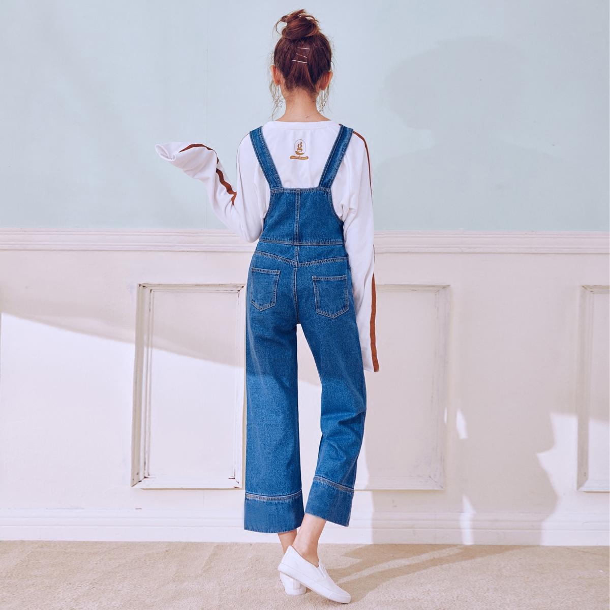Джинсы женские 2018 весна и осень высокой талией джинсовые комбинезоны женщин обрезанные студент брюки широкую ногу свободные корейской версии прямые мягкие сестра комбинезон