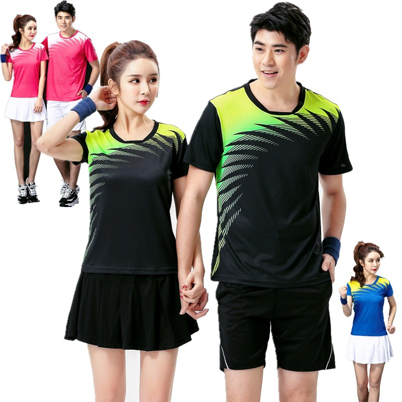 c0532d13f Genuine badminton suit men and women summer round neck short-sleeved T-shirt  couple quick-drying sportswear tennis clothing printing