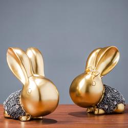 兔子欧式客厅家居装饰品创意电视柜酒柜抽象工艺品摆件雕塑艺术品淘宝优惠券