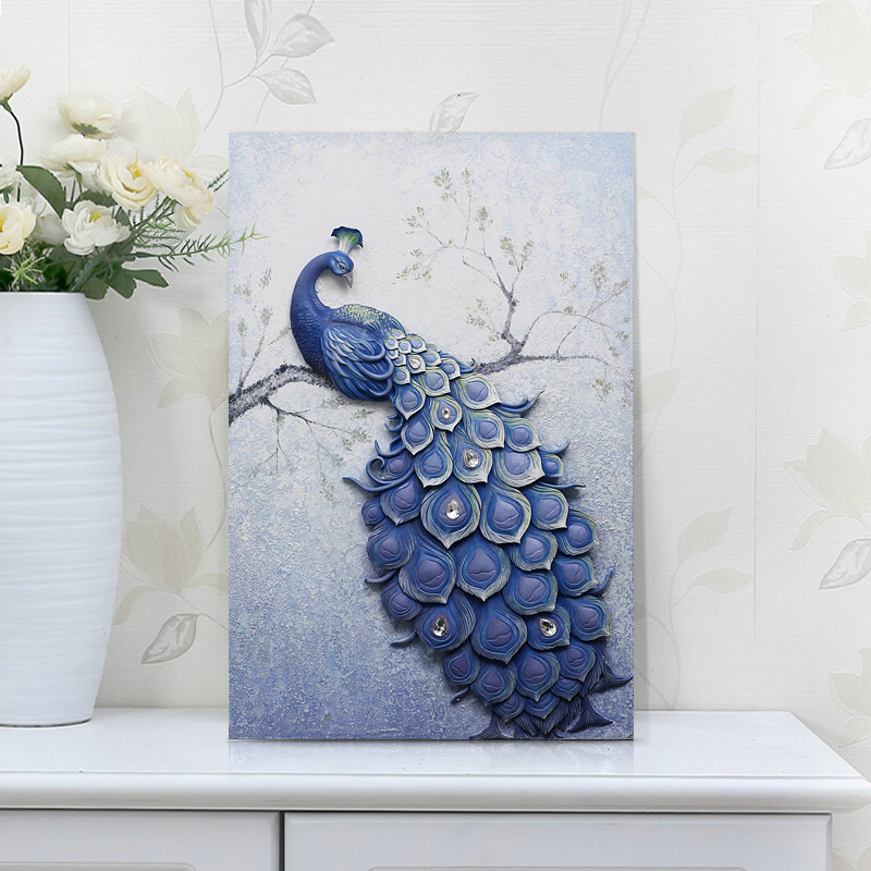 New Chinese Peacock Wall Wall Decoration Painting Entrance 3d Three Dimensional Relief Entrance Painting Vertical Version Lucky Feng Shui