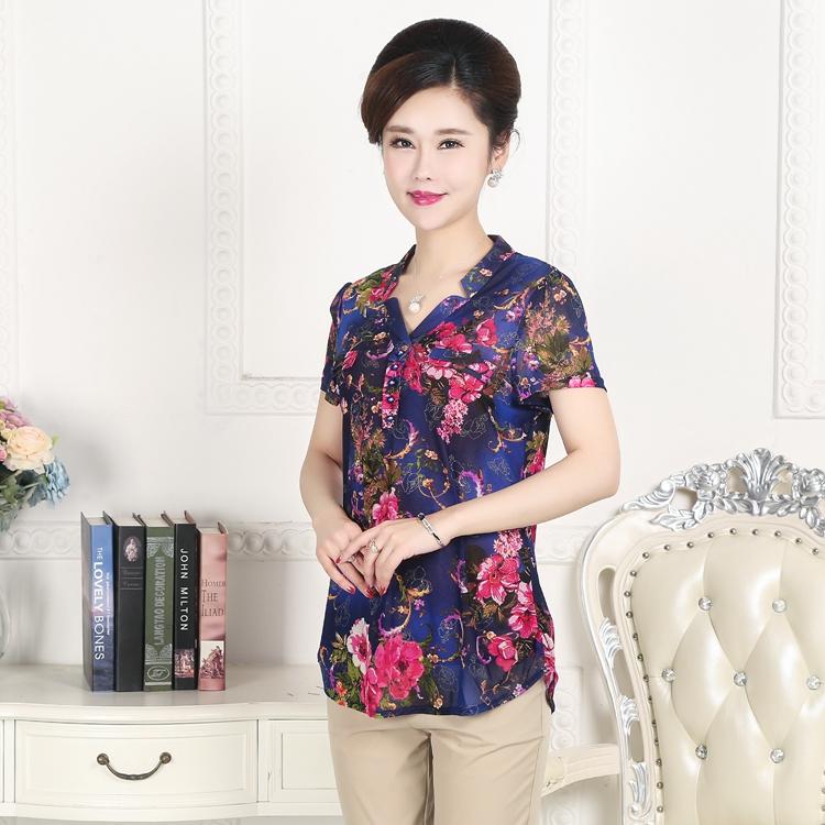 伊品新款中老年夏装短袖女装中年韩版大码妈妈装女款夏季T恤