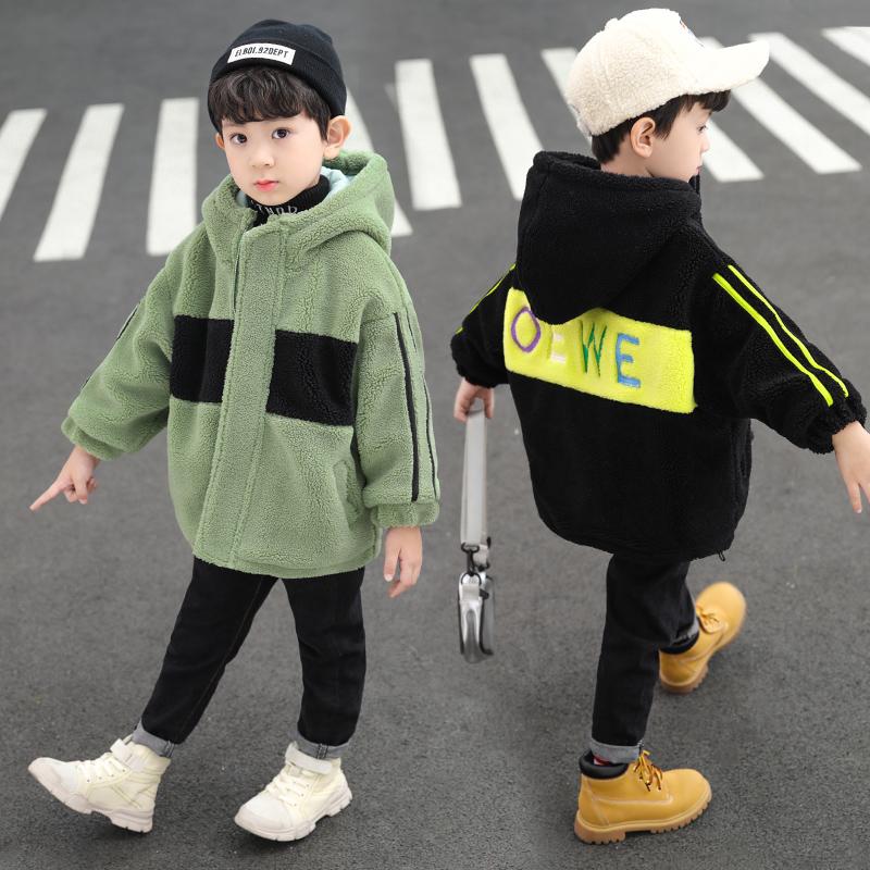 男童毛毛衣外套加厚秋冬装2019新款3儿童羊羔绒夹克4加绒5童装6岁