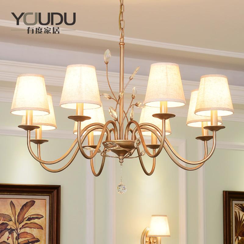 美式乡村水晶铁艺吊灯欧式新古典吊灯客厅餐厅卧室成套组合套餐灯