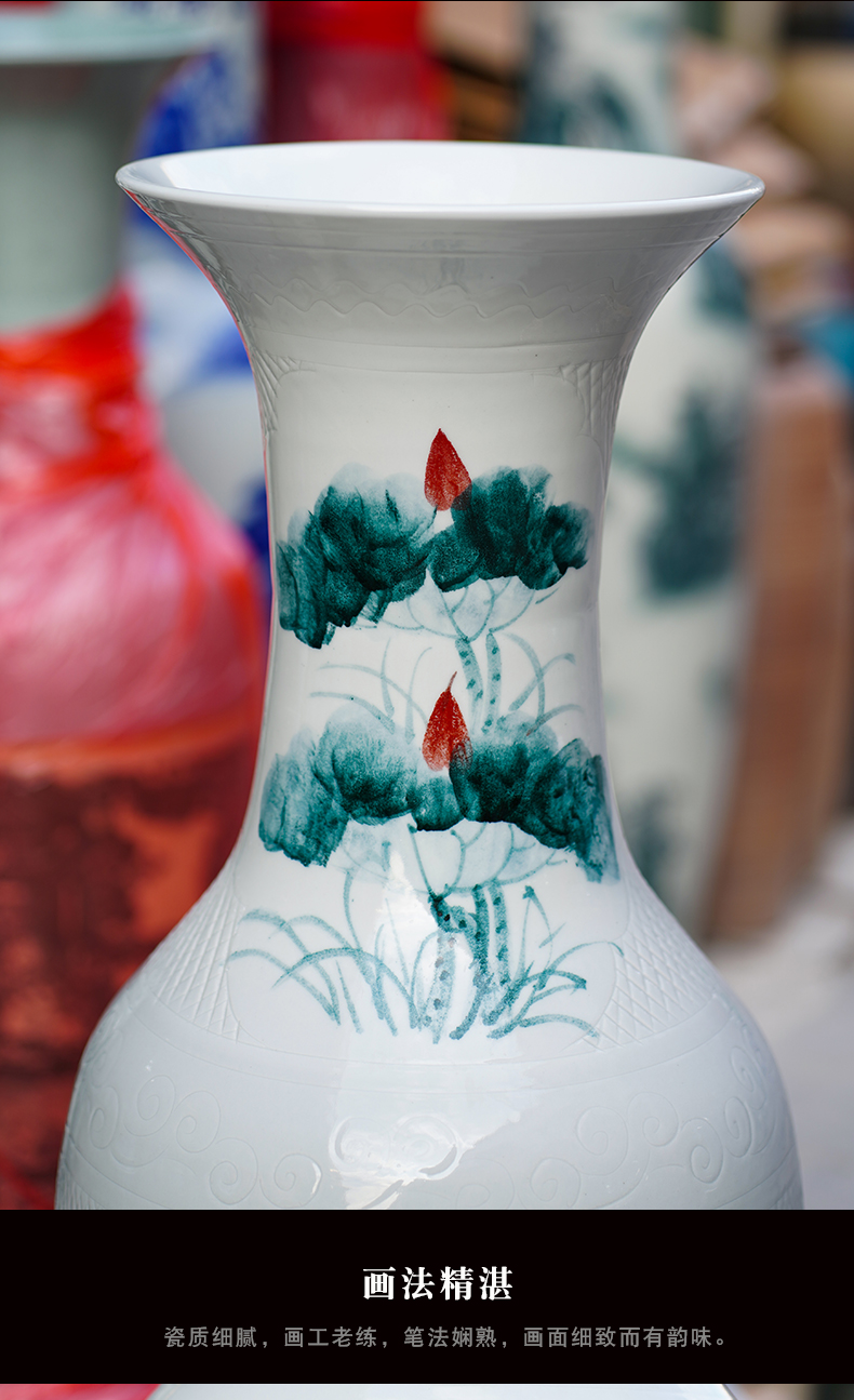 Jingdezhen ceramic hand - made lotus fish landing big vase TV ark place to live in the sitting room porch decoration