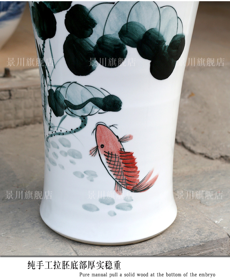 Hand - made ink color blue and red lotus lotus fish landing big vase jingdezhen ceramic household sitting room adornment furnishing articles
