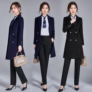 Occupation woolen coat female long section winter slim plus cotton plus thick woolen hotel work clothes tooling PZ866280