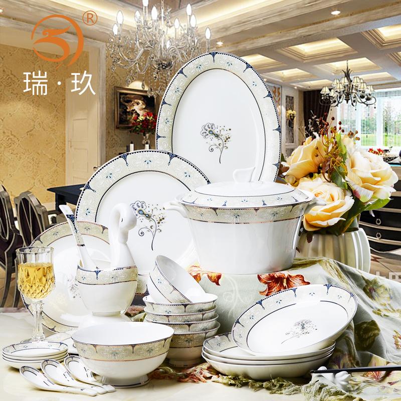 唐山陶瓷器西式60頭骨瓷餐具套裝家用創意歐式組合碗盤碟套裝送禮