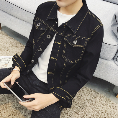 Spring and Autumn solid color denim jacket men's new coat Korean youth Slim jacket men's trend gown