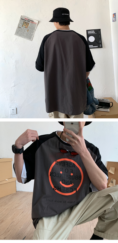 2020港风新款男士短袖T恤全棉圆领上衣印花宽松半袖A139-148-P25