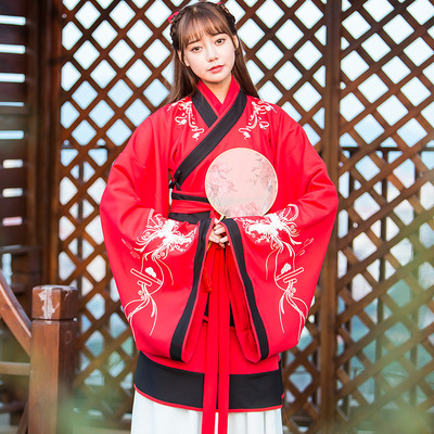 Han elements of the original traditional Chinese clothing women's costumes ancient embroidery long-sleeved delivery on the Confucianist Qu four sets of autumn and winter