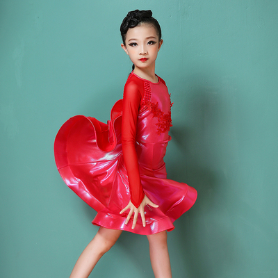 Latin dance dress girl's high-end training dress professional competition performance dress children's dance regulation dress