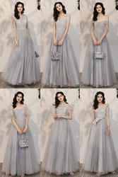 Bridesmaid dress fairy temperament 2021 new spring and summer long gray sister group wedding evening dress female slim dress