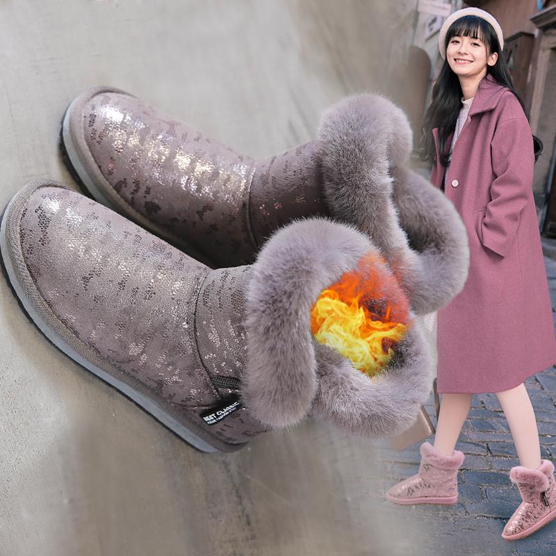 冬季雪地靴女2018新款保暖加厚棉鞋韩版短筒百搭学生加绒短靴子