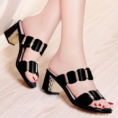 【筱恬】夏季粗跟一字外穿凉拖鞋女