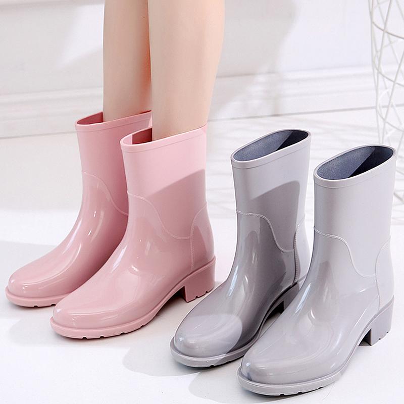 v胶鞋胶鞋中筒高跟日系可爱防滑外穿水鞋夏季时尚雨靴防水雨鞋女
