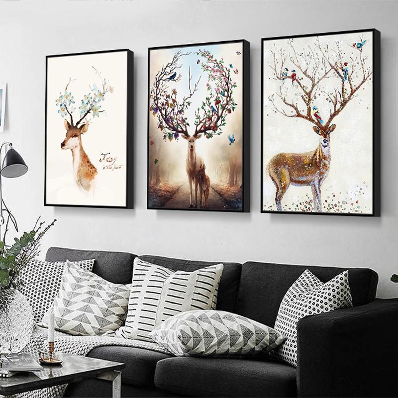 免打孔客厅装饰画现代北欧麋鹿挂画三联水晶卧室壁画沙发背景墙画