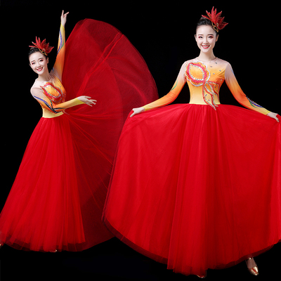 Chinese Folk Dance Costume Atmospheric singing and dancing costumes, opening dance dresses, large-scale adult dance stage dresses