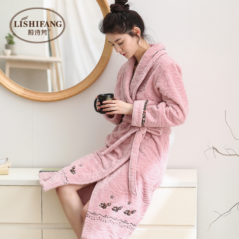 USD 106.98] Dressing gown women\'s winter coral velvet pajamas Thick ...