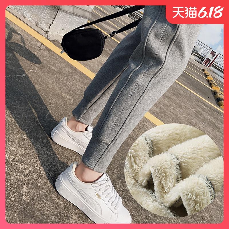 加绒运动裤女羊羔绒冬季加厚外穿小脚宽松九分休闲韩版哈伦女裤子