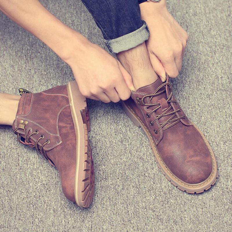 冬季中帮马丁靴男潮高帮男靴子雪地短靴皮靴子沙漠靴加绒保暖棉鞋