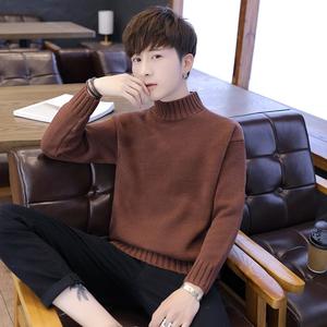 冬季男士半高領毛衣純色新款韓版潮流修身加厚針織衫男寬松外套