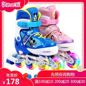 迪士尼溜冰鞋儿童全套装 3-5-6-8-10岁公主初学者透气旱冰轮滑鞋