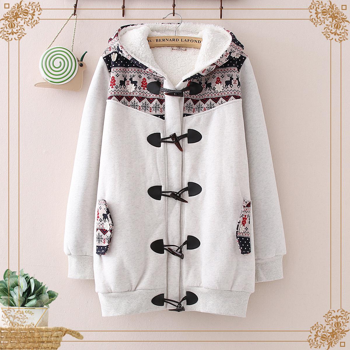 Đại học phong cách quần áo mùa thu đông mới cô gái dễ thương trùm đầu cộng với nhung nhung khóa áo khoác cotton học sinh áo khoác cotton nữ Mori - Bông
