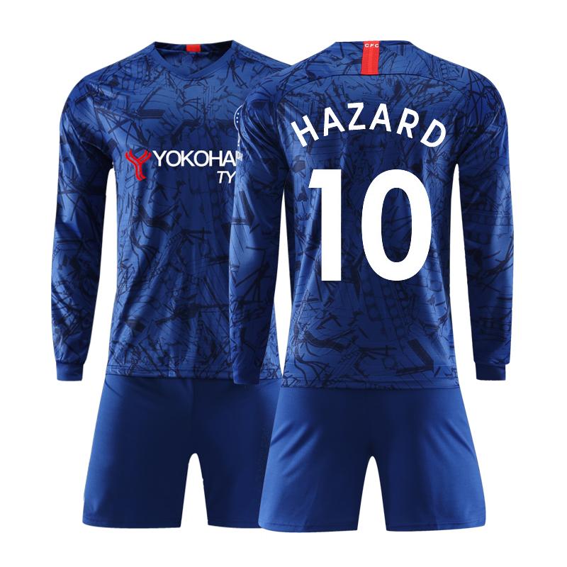 20款切尔西儿童队服10号哈扎尔长袖球衣服足球套装定短袖制v儿童服