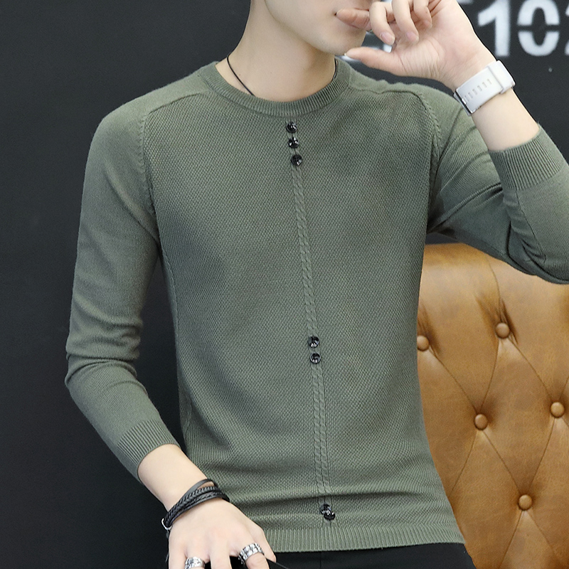 2020 Spring fall new men's clothing Korean version long-sleeved T-shirt men's wear knitted bottomshirt T-shirt inns