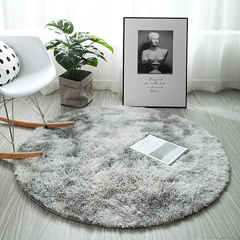 北欧ins风圆形长绒地毯
