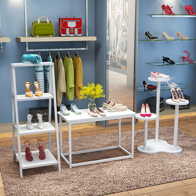 Window frame shoe store display case shoe rack shelf wooden stand ...