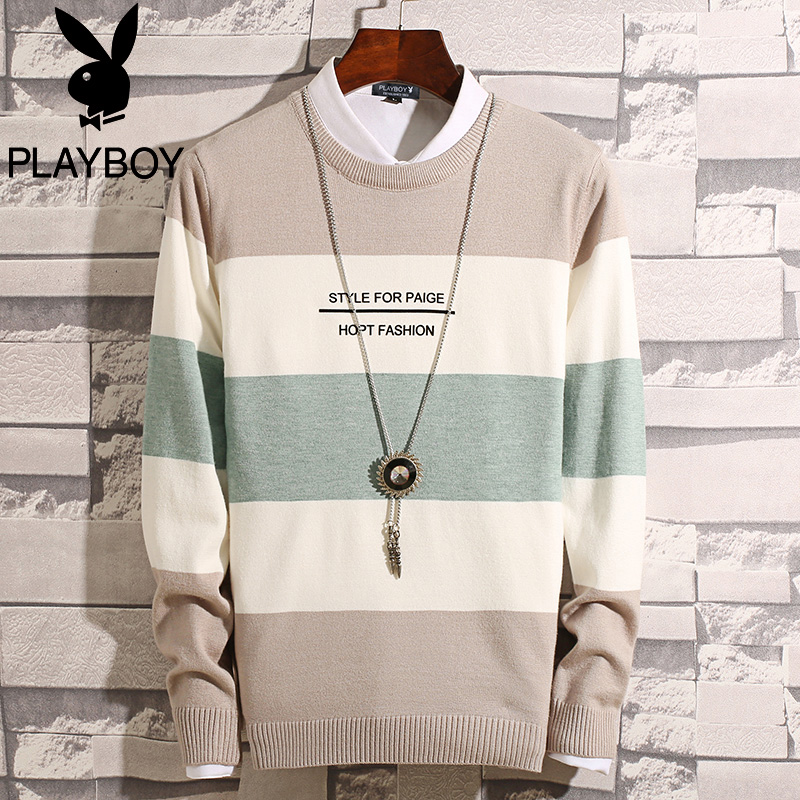 Playboy fake two sweaters men 2019 autumn new men's winter sweater line clothes autumn coat