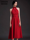 Early autumn hanging neck dress red retro head style small dress long skirt temperament women's mature banquet high cooling