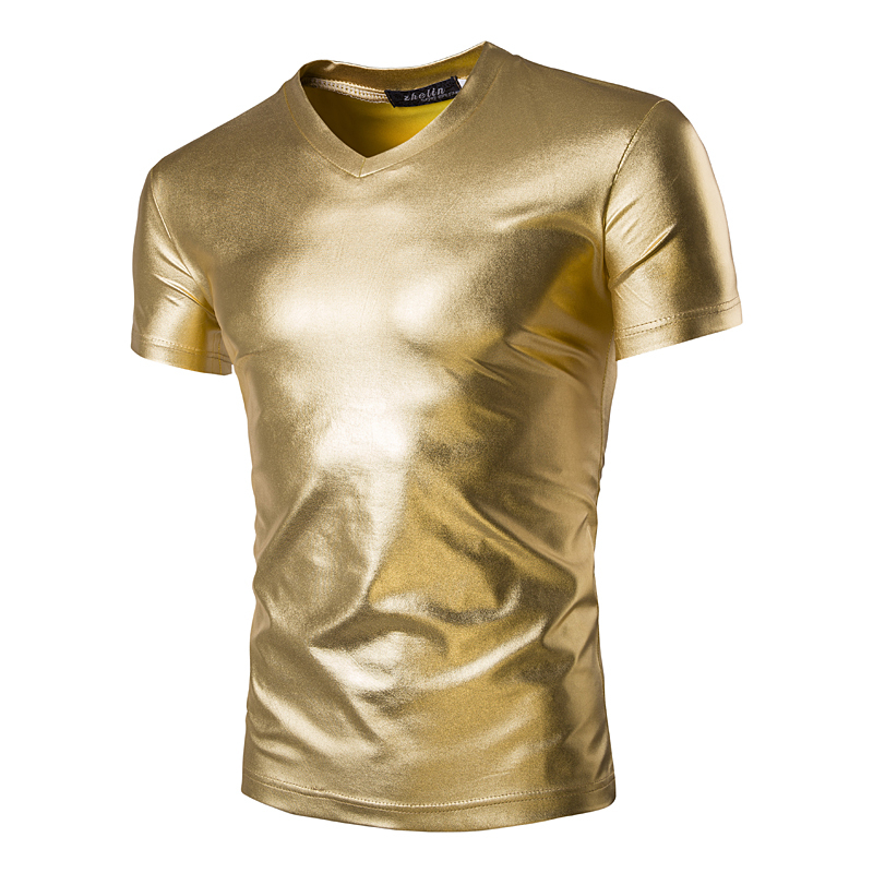 Bright Slim Short Sleeve T-Shirt Men's Glossy Tide Men's T-Shirt Men's Tops