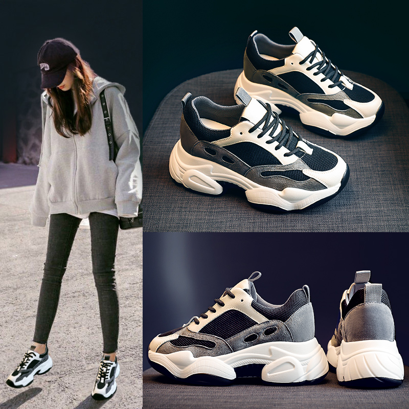 Daddy shoes autumn 2019 new autumn shoes spring and autumn models wild increased thick bottom leisure sports ins tide shoes