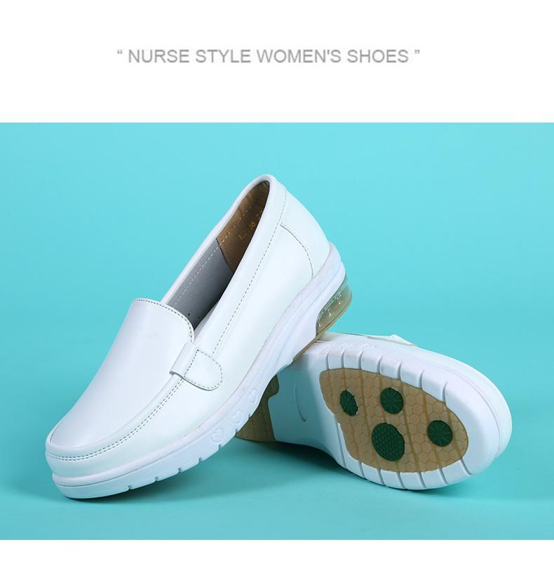 giày y tá đệm nữ khử mùi thở da phẳng dốc mềm đế với nặng đáy tăng mùa hè thai sản rỗng