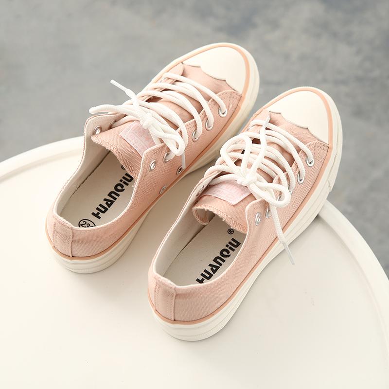 环球2019秋季新款百搭布鞋韩版ulzzang粉色帆布鞋女学生平底板鞋