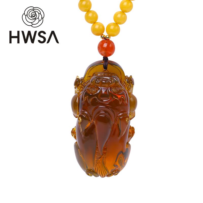HWSA爱华尚蓝珀招财金石项链雕刻件蜜蜡天然琥珀貔貅青项链配链