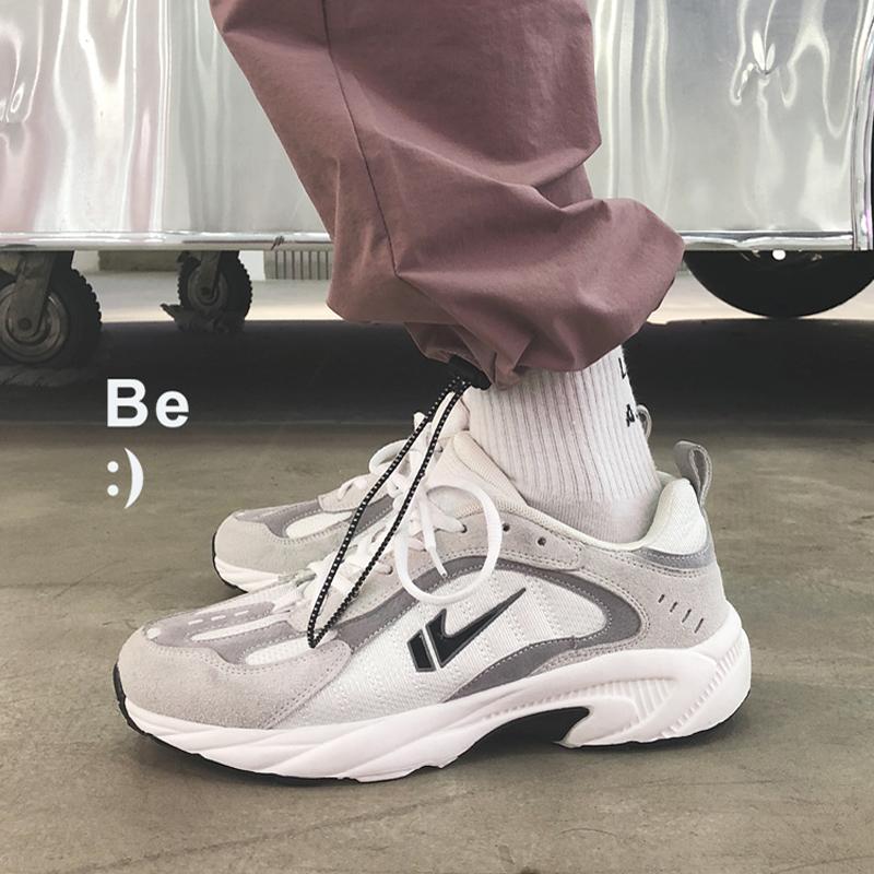 韩国ins风学生拼色运动鞋潮男舒适百搭增高v学生休闲鞋几何鞋老爹