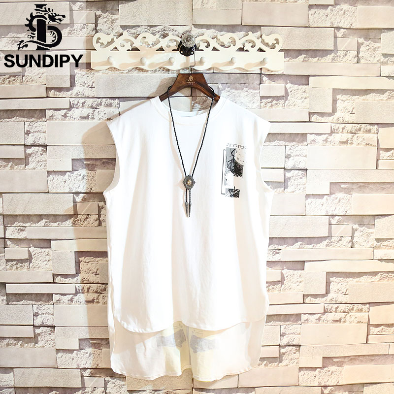 sundipy loose in the long section of cotton ins men's letters fashion round neck printing short before and after the long sweat vest
