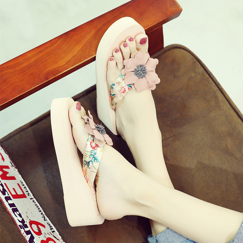 aee50e63a20850 New national wind thick bottom flip flops fashion non-slip slope with cool slippers  female summer Korean version of the flower sandals