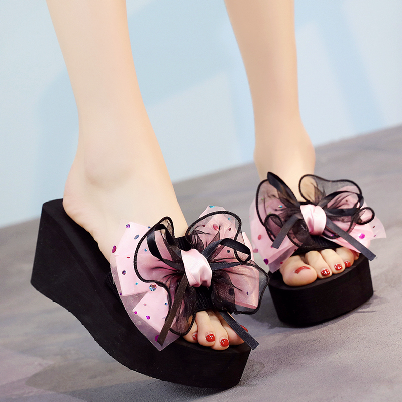 48e55f910 New high-heeled slippers female summer fashion wear slope with sandals non-slip  thick bottom slippers Beach beach slippers