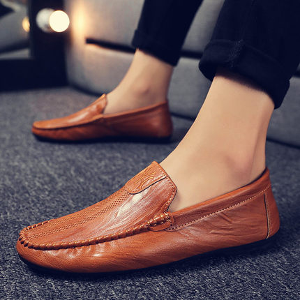 2020 new men's shoes summer breathable trend peas shoes one pedal lazy leather shoes social spirit guy trendy shoes