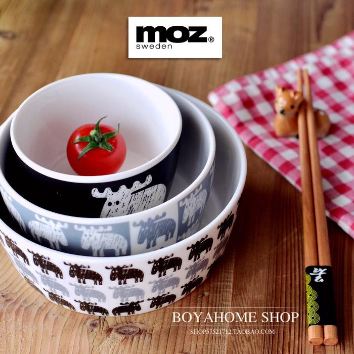 出口訂單瑞典MOZ陶瓷餐具碗平底碗北歐風格飯碗微波爐烤箱適用