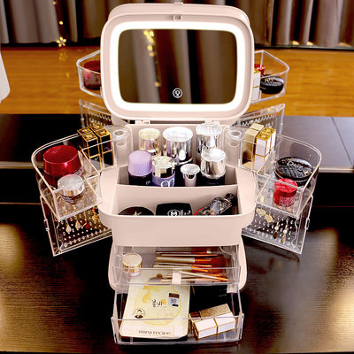 Net red cosmetics storage box dust-proof skin care product dressing table desktop LED with mirror jewelry integrated rack